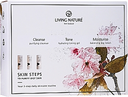 Düfte, Parfümerie und Kosmetik Gesichtspflegeset - Living Nature Skin Steps To Purify Oily Skin (f/cleanser/50ml + gel/50ml + lot/50ml)