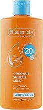 Düfte, Parfümerie und Kosmetik Feuchtigkeitsspendende Bräunungslotion mit Kokosmilch SPF20 - Bielenda Bikini Moisturizing Suntan Milk Medium Protection