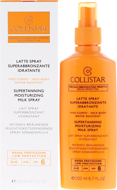 Intensiv bräunende feuchtigkeitsspendende Spray-Sonnenmilch SPF 6 - Collistar Supertanning Moisturing Milk Spray SPF 6 water resistant — Bild N1