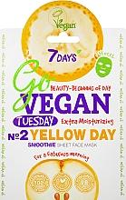 Düfte, Parfümerie und Kosmetik Intensiv feuchtigkeitsspendende Tuchmaske für das Gesicht mit Mandelöl, Birnen- und Bananenextrakt - 7 Days Go Vegan Tuesday Yellow Day