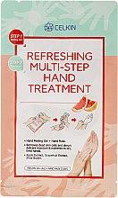 Düfte, Parfümerie und Kosmetik Handpeeling-Gel + Handmaske mit Apfel- und Granatapfelextrakt und Sheabutter - Celkin Refreshing Multi Step Hand Treatment