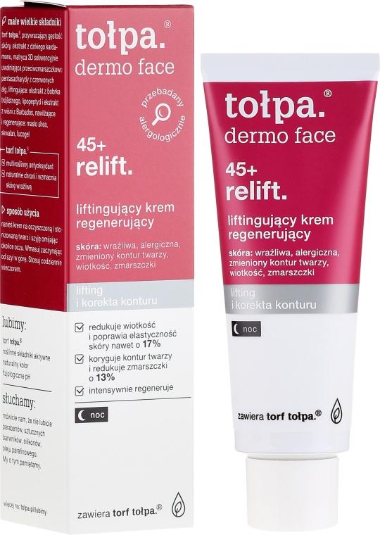 Regenerierende Nachtcreme für das Gesicht mit Lifting-Effekt 45+ - Tolpa Dermo Face Relift 45+ Night Cream