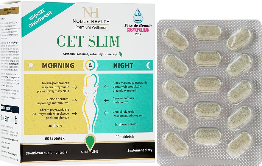 Nahrungsergänzungsmittel Get Slim zur Gewichtsreduktion in 4 Wochen 90 St. - Noble Health Get Slim Morning & Night