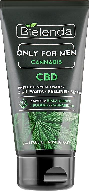 3in1 Gesichtsmaske mit weisser Tonerde, Bimsstein und Cannabisextrakt - Bielenda Only For Men 3in1 Face Cleansing Paste