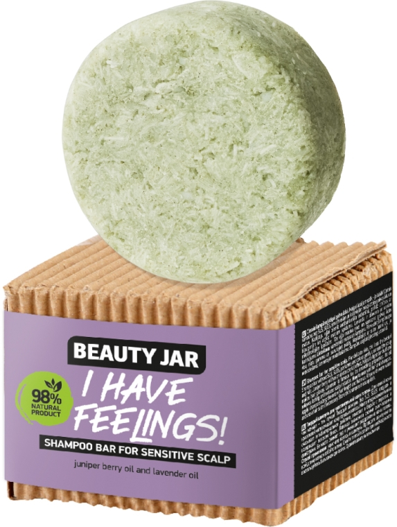 Festes Shampoo für empfindliche Kopfhaut mit Wacholderbeeren- und Lavendelöl - Beauty Jar I Have Feelings