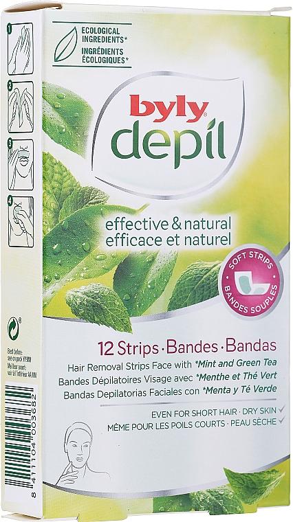 Enthaarungswachsstreifen für das Gesicht mit Minze und grünem Tee - Byly Depil Mint And Green Tea Hair Removal Strips Face — Bild N1