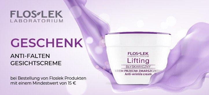 Bei Bestellung von Floslek Produkten mit einem Mindestwert von 15 €, bekommen Sie eine Anti-Falten Gesichtscreme als Geschenk von uns
