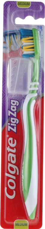 Zahnbürste mittel Zig Zag grün-weiß - Colgate Zig Zag Plus Medium Toothbrush
