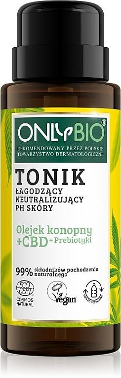 Beruhigendes und neutralisierendes pH-Wert der Haut Gesichtstonikum mit Hanföl, Cannabidiol und Präbiotika - Only Bio