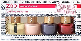 Düfte, Parfümerie und Kosmetik Starter Kit Nagelpflege & Nagellack-Set - Zao Limited Edition Christmas Nail Polish Box (Glasnagelfeile+Nagel- und Nagelhautpflegeöl+3xNagellacke)