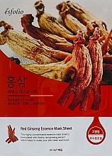 Düfte, Parfümerie und Kosmetik Feuchtigkeitsspendende und glättende Tuchmaske für das Gesicht mit rotem Ginseng-Extrakt - Esfolio Red Ginseng Essence Mask Sheet