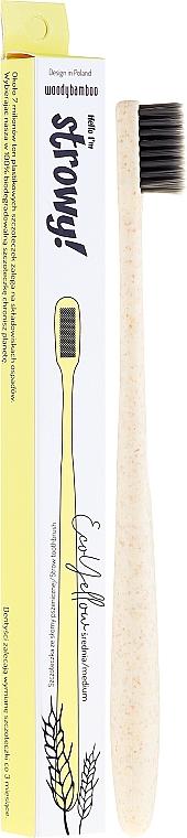 Weizenstroh-Zahnbürste mittel EcoYellow gelb - WoodyBamboo Toothbrush EcoYellow Medium