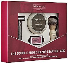 Düfte, Parfümerie und Kosmetik Rasierset - Men Rock The Cut Throat Starter Pack (Rasierer/1St. + Rasierpinsel/1St. + Rasierklingen/5St. + Rasiercreme/100ml)