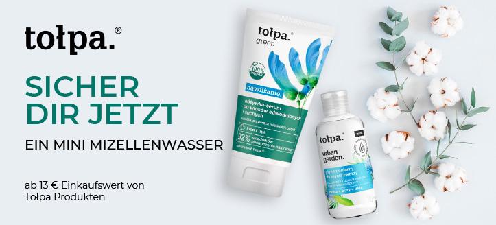 Bei einer Bestellung von Tołpa Produkten ab 13 € erhälst Du ein Mini Mizellenwasser gratis